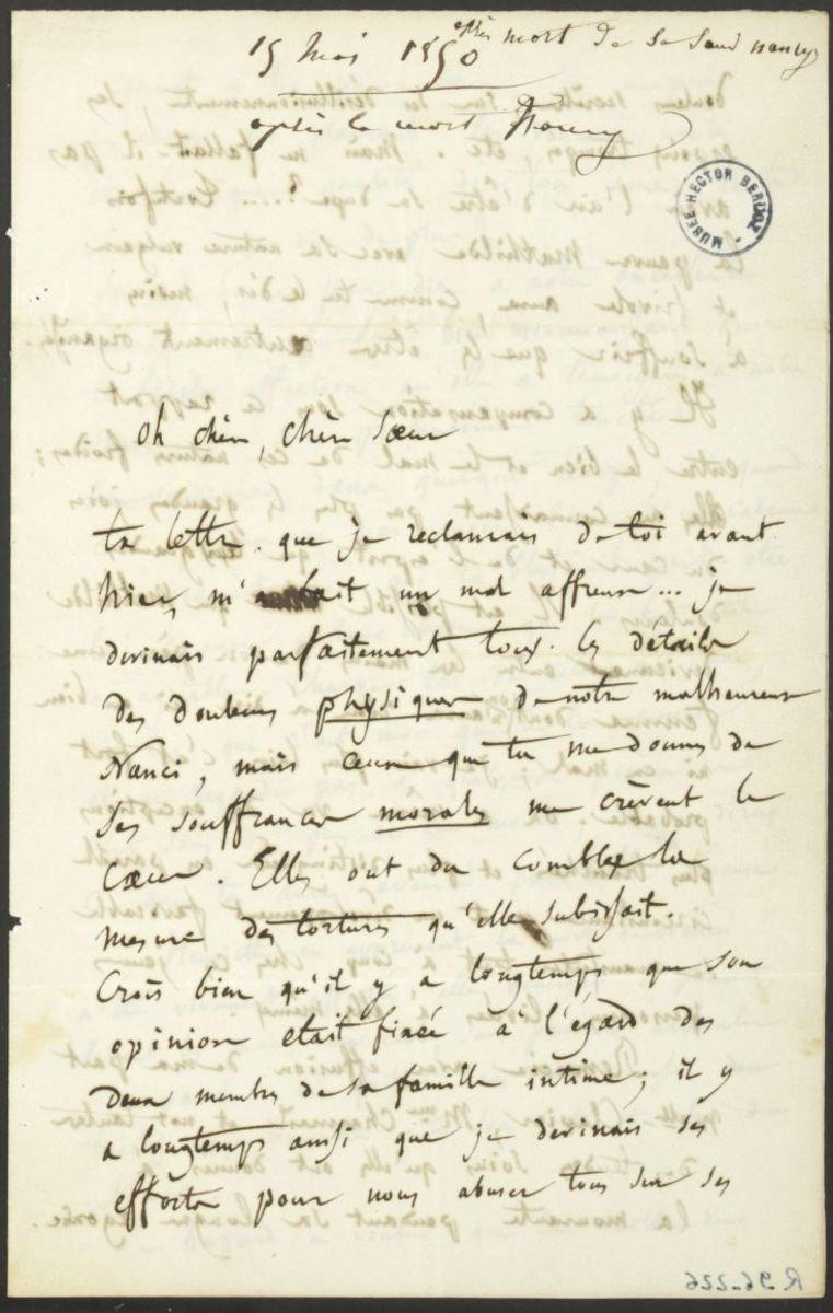 Lettre d'Hector Berlioz à Adèle Suat Berlioz Manuscrit 1850