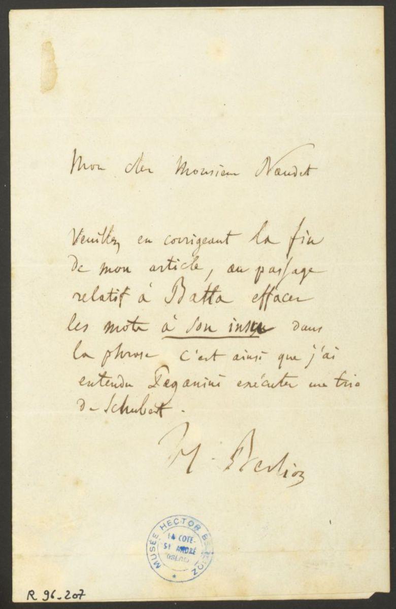 Lettre d'Hector Berlioz à Naudet Manuscrit 1840
