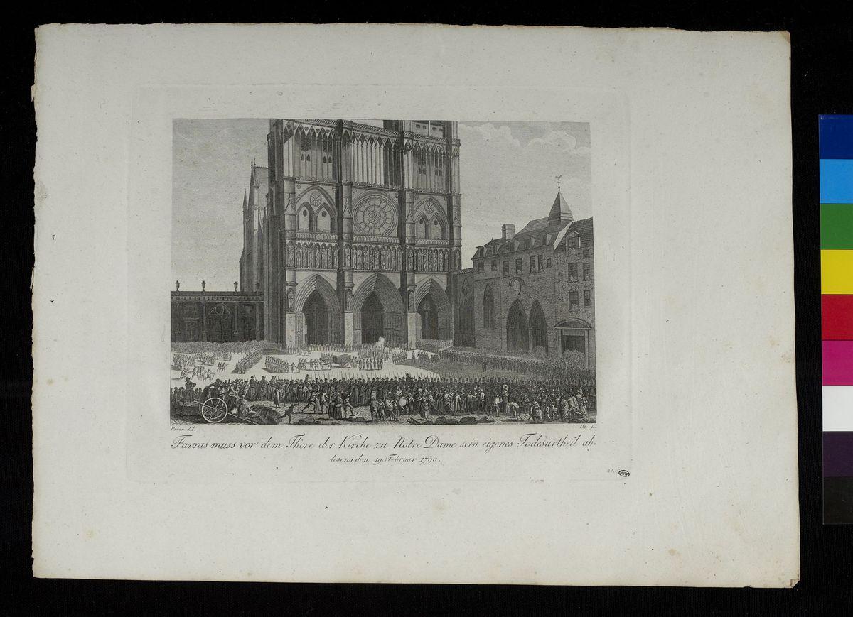 Favras muss vor dem Thore der Kirche zu Notre Dame sein  eigenes Todesurtheil ab lesen, den 19. Februar 1790 Arts graphiques