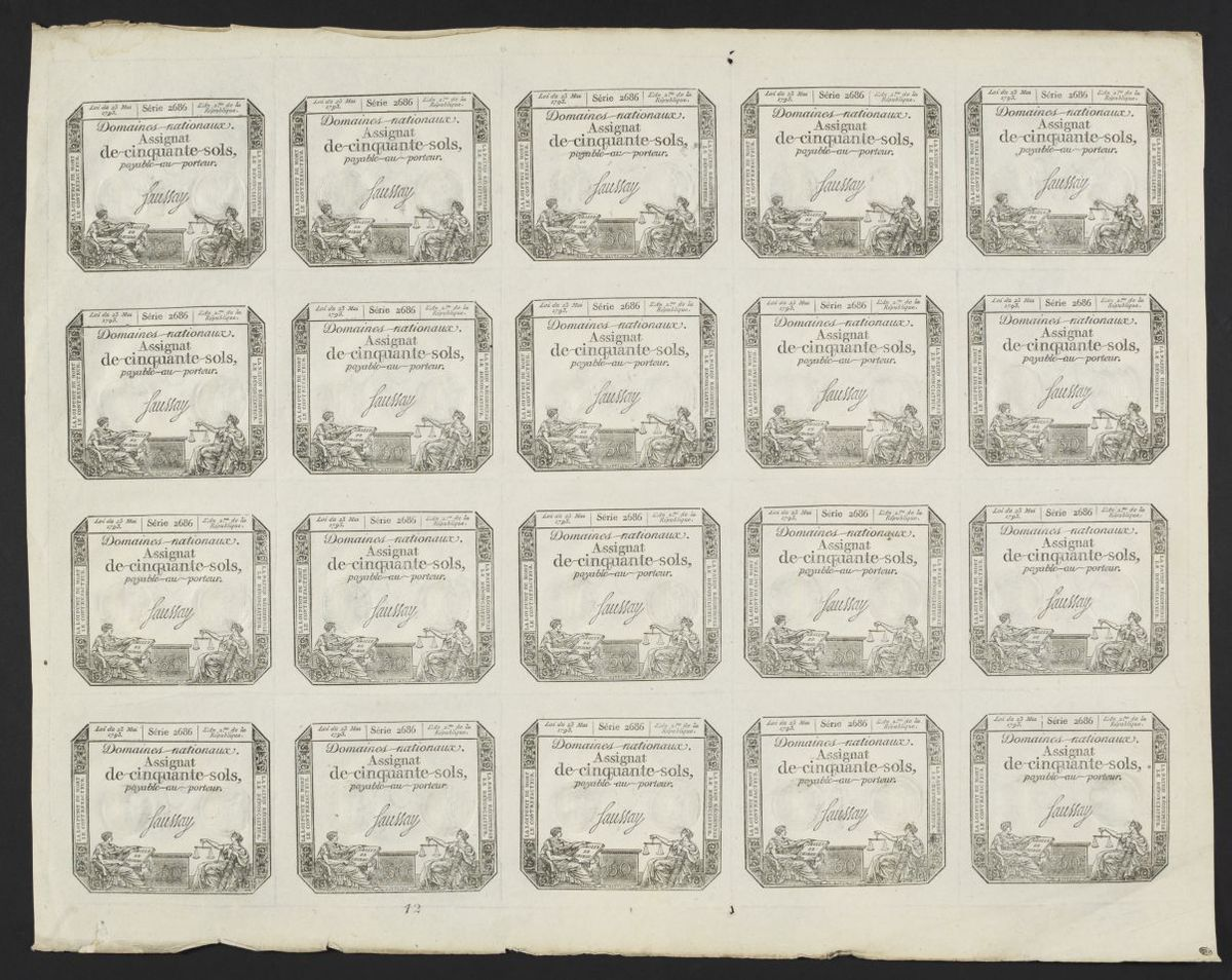 Planche de vingt assignats de cinquante sols, signés Saussay. Série 2686, 23 mai 1793 Estampe
