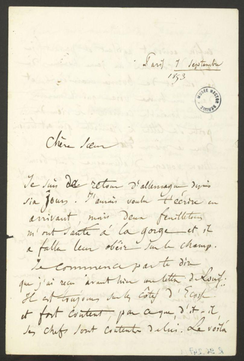 Lettre d'Hector Berlioz à Adèle Suat Berlioz Manuscrit 1853