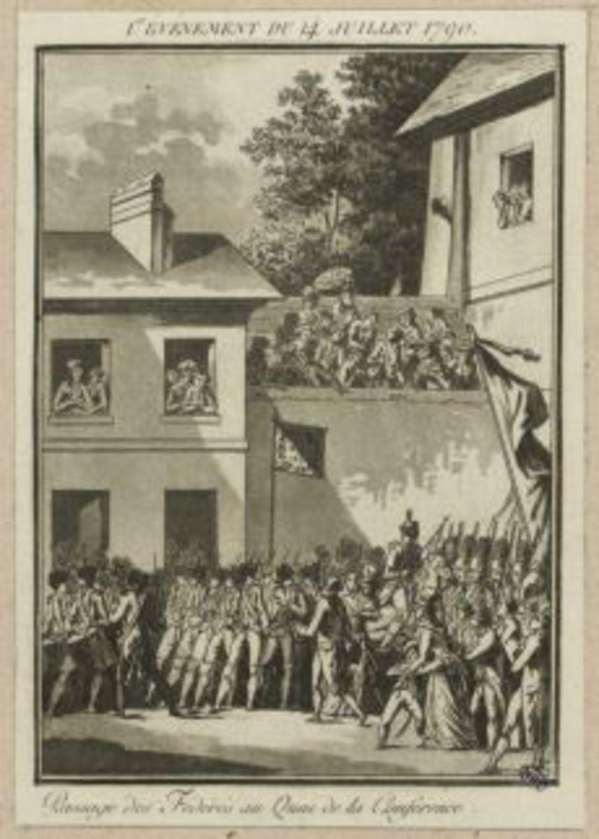 1er événement du 14 juillet 1790. Passage des Fédérés au Quai de la Conférence Estampe