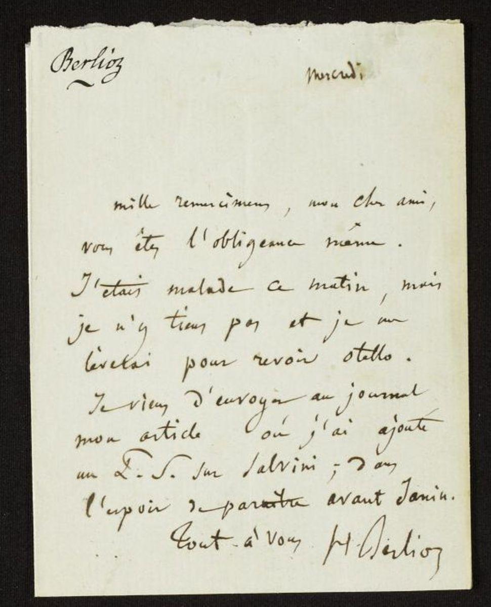 Lettre d'Hector Berlioz à un destinataire inconnu Manuscrit