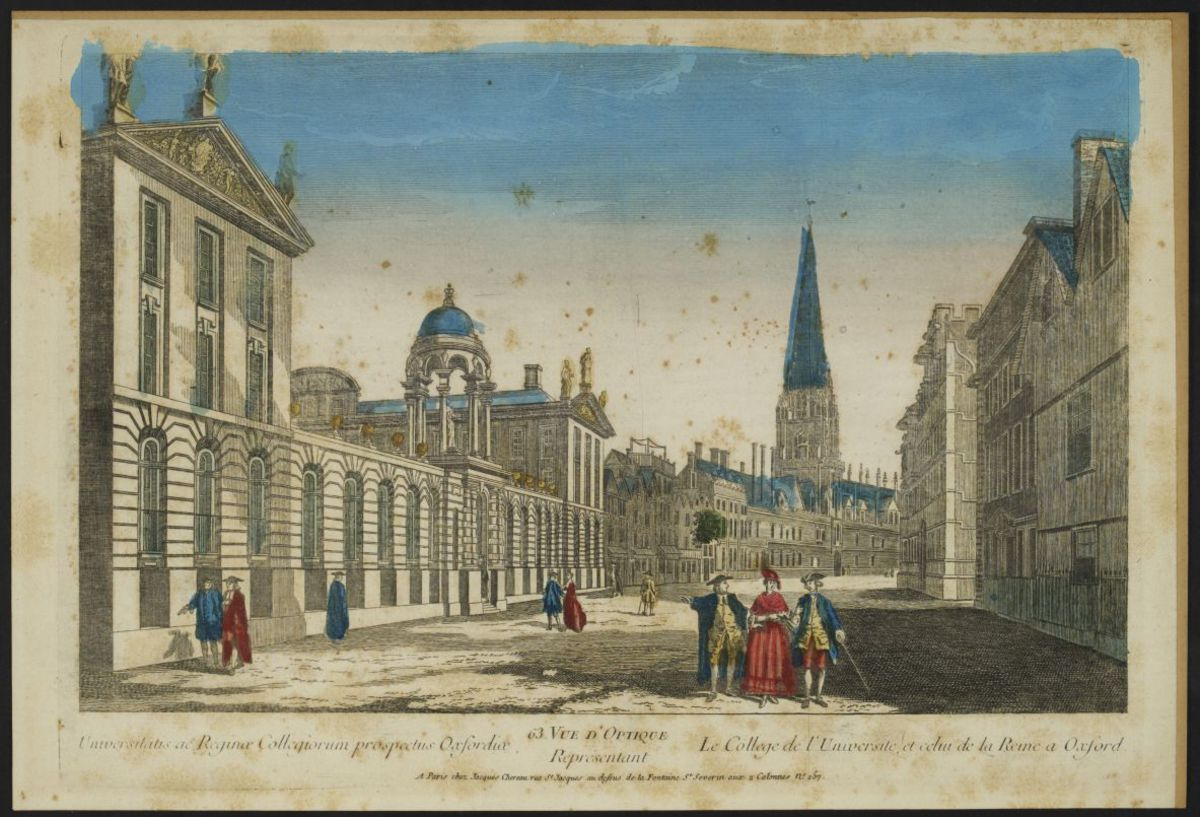 63e vue d'optique représentant le collège de l'Université et celui de la Reine à Oxford Estampe