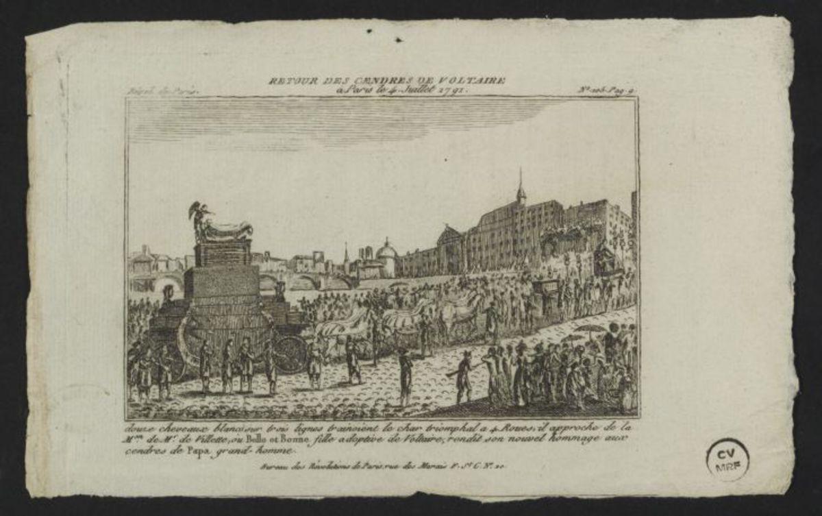 Retour des Cendres de Voltaire à Paris le 4 Juillet 1791 Estampe