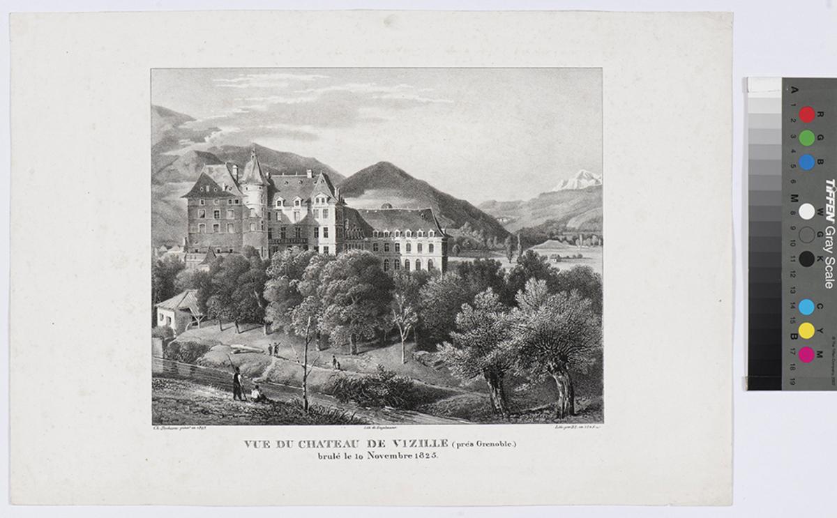 Vue du château de Vizille (prés Grenoble) brûlé le 10 Novembre 1825 Estampe