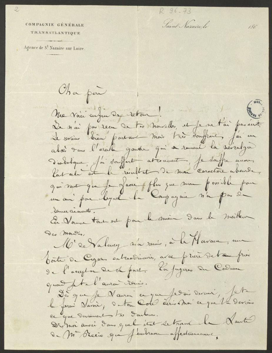 Lettre de Louis Berlioz à Hector Berlioz Manuscrit 1866