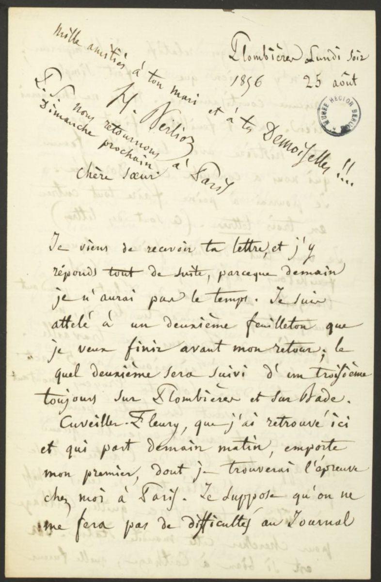 Lettre d'Hector Berlioz à Adèle Suat Berlioz Manuscrit 1856