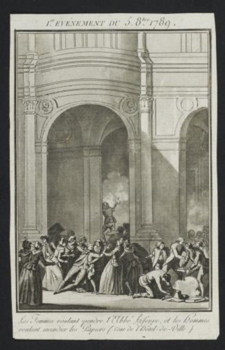 1er événement du 5 8bre 1789. Les femmes voulant pendre l' Abbé Lefevre, et les hommes voulant incendier les papiers (cour de l' Hôtel de ville) Estampe
