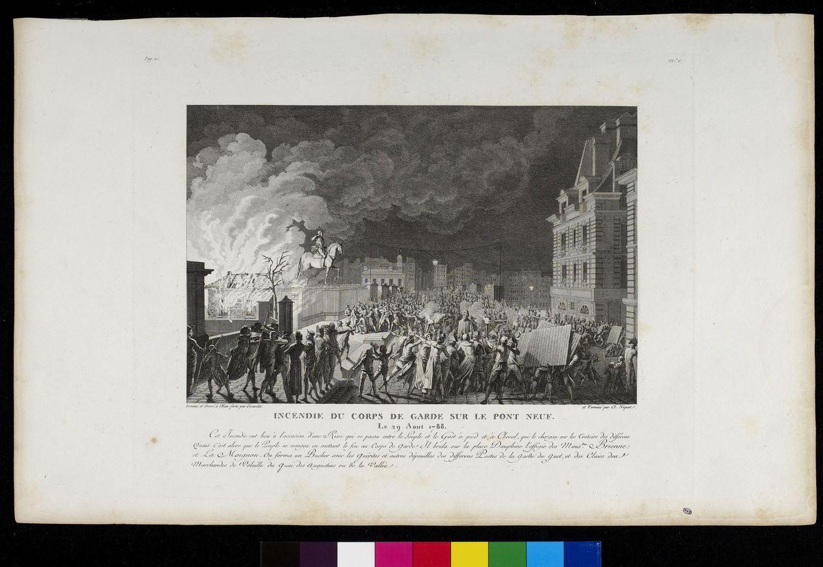 Incendie du Corps de garde sur le Pont-Neuf, Paris, 29 août 1788 Arts graphiques