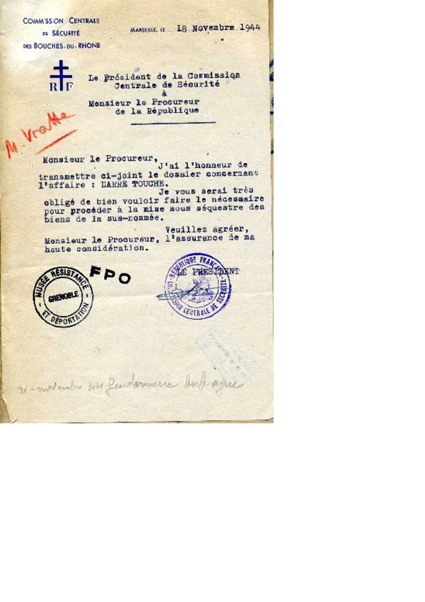 """Dossier """"Claire Darré-Touche"""", sous-dossier """"Procès Verbaux"""" Ecrit"""