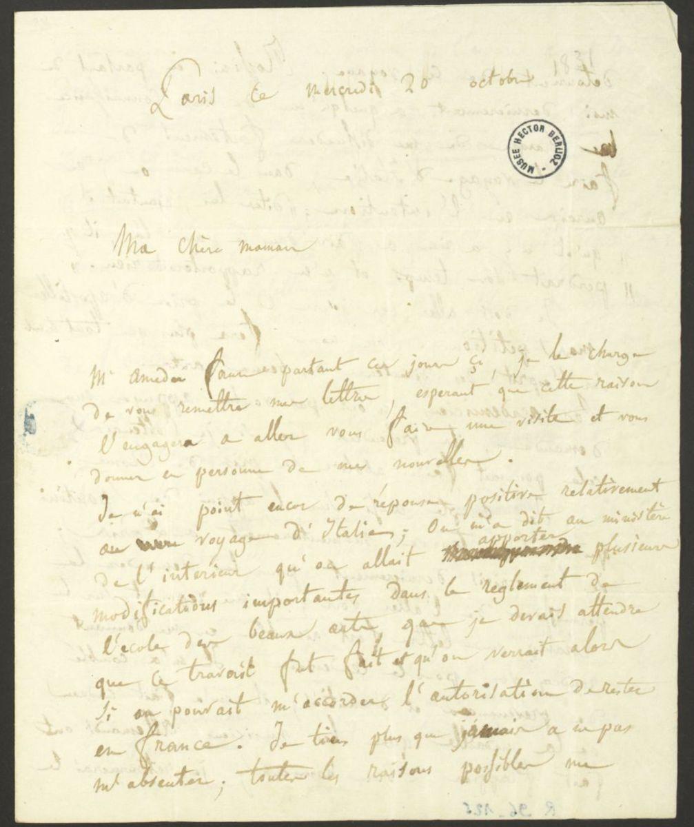 Lettre d'Hector Berlioz à Josephine Berlioz Marmion Manuscrit 1830