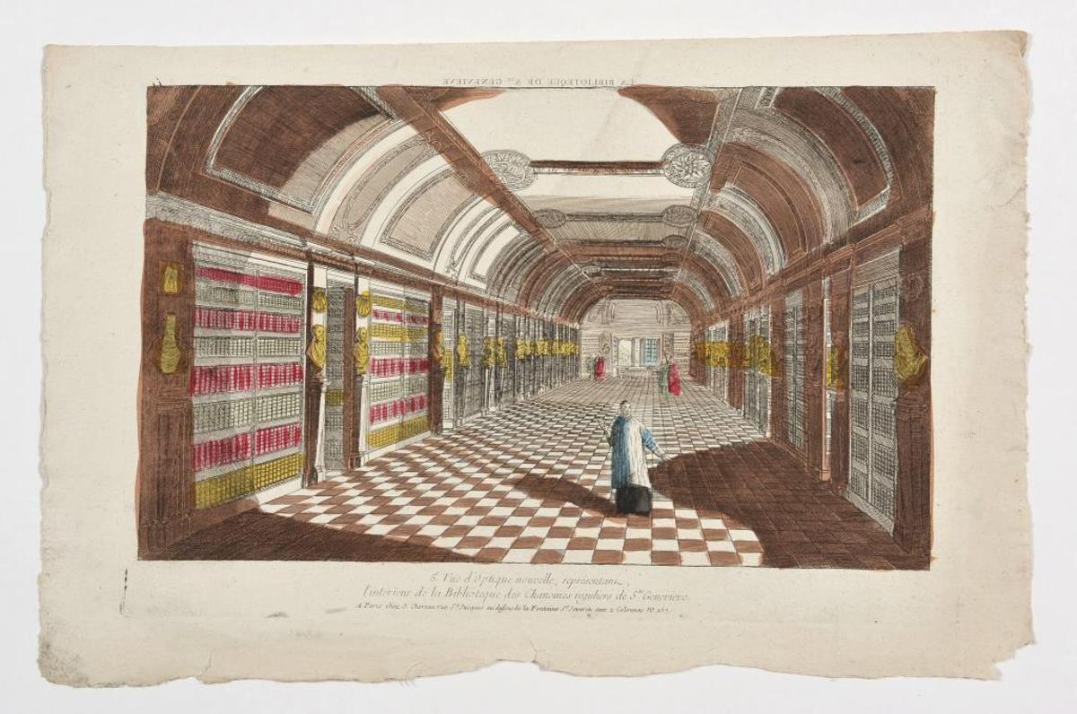 Vue d'optique intérieur de la bibliothèque Ste Geneviève arts graphiques