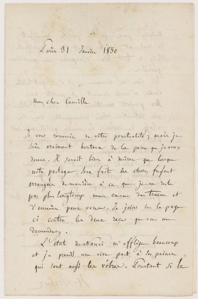 Lettre d'Hector Berlioz à Camille Pal Manuscrit 1850