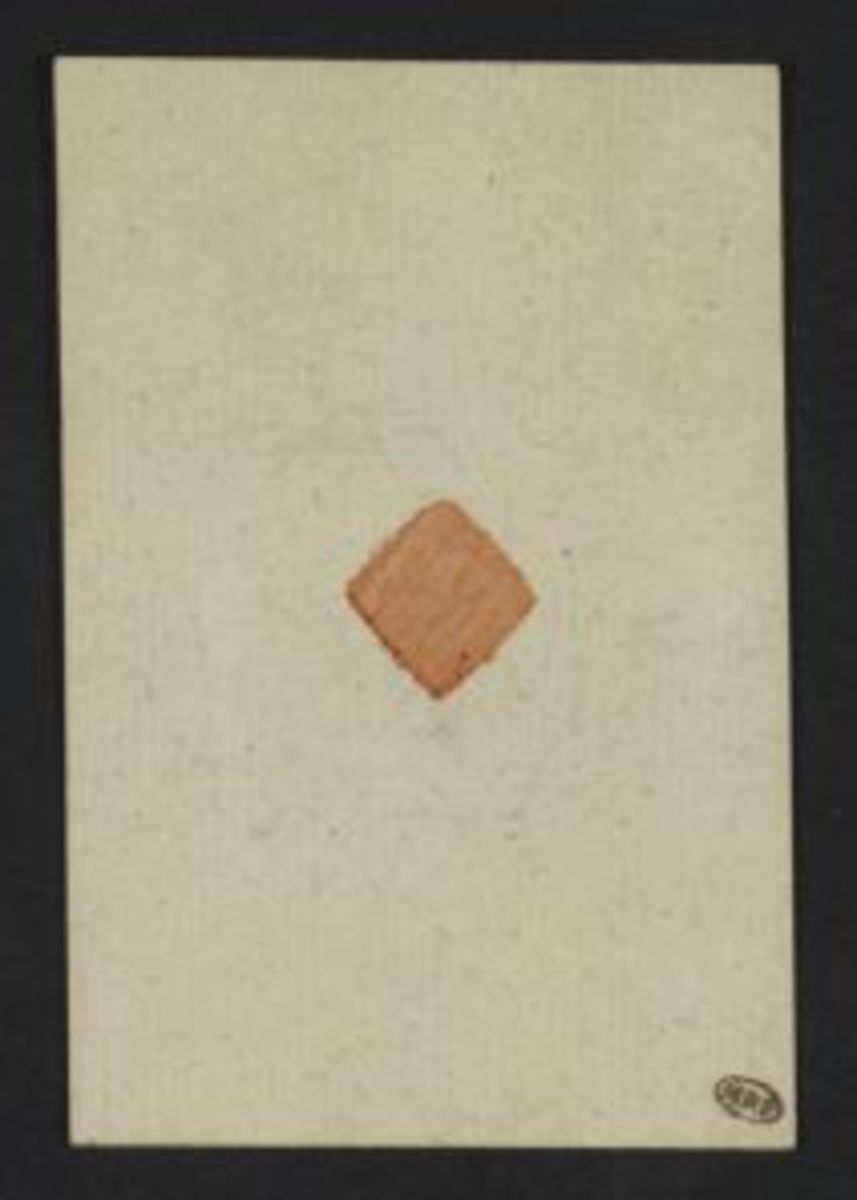 """Jeu de 32 cartes, dit """"Jeu des Philosophes"""". Cartes habillées : 4 braves : Annibal, Horace, P.Decrins, Mus. M.Scaevola ; 4 vertus : Justice, Prudence, Union, Force ; 4 Sages : Solan, Caton, J.J.Rousseau (tenant le contrat Social) J.Brutus. Les autres cart Estampe"""