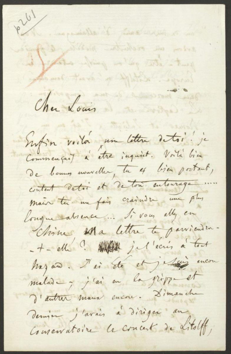 Lettre d'Hector Berlioz à Louis Berlioz Manuscrit 1858