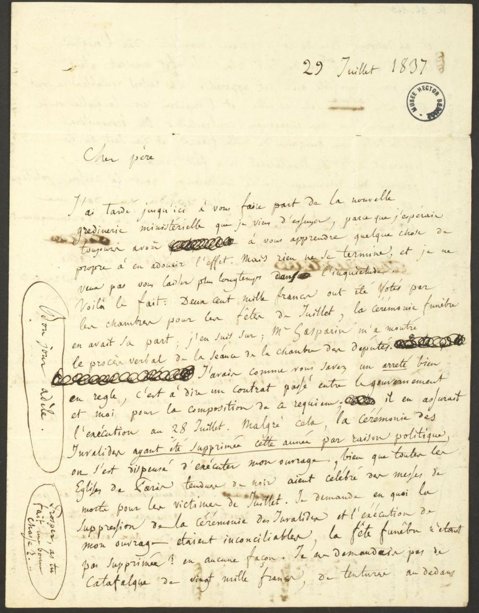 Lettre d'Hector Berlioz à Dr. Louis-Joseph Berlioz Manuscrit 1837