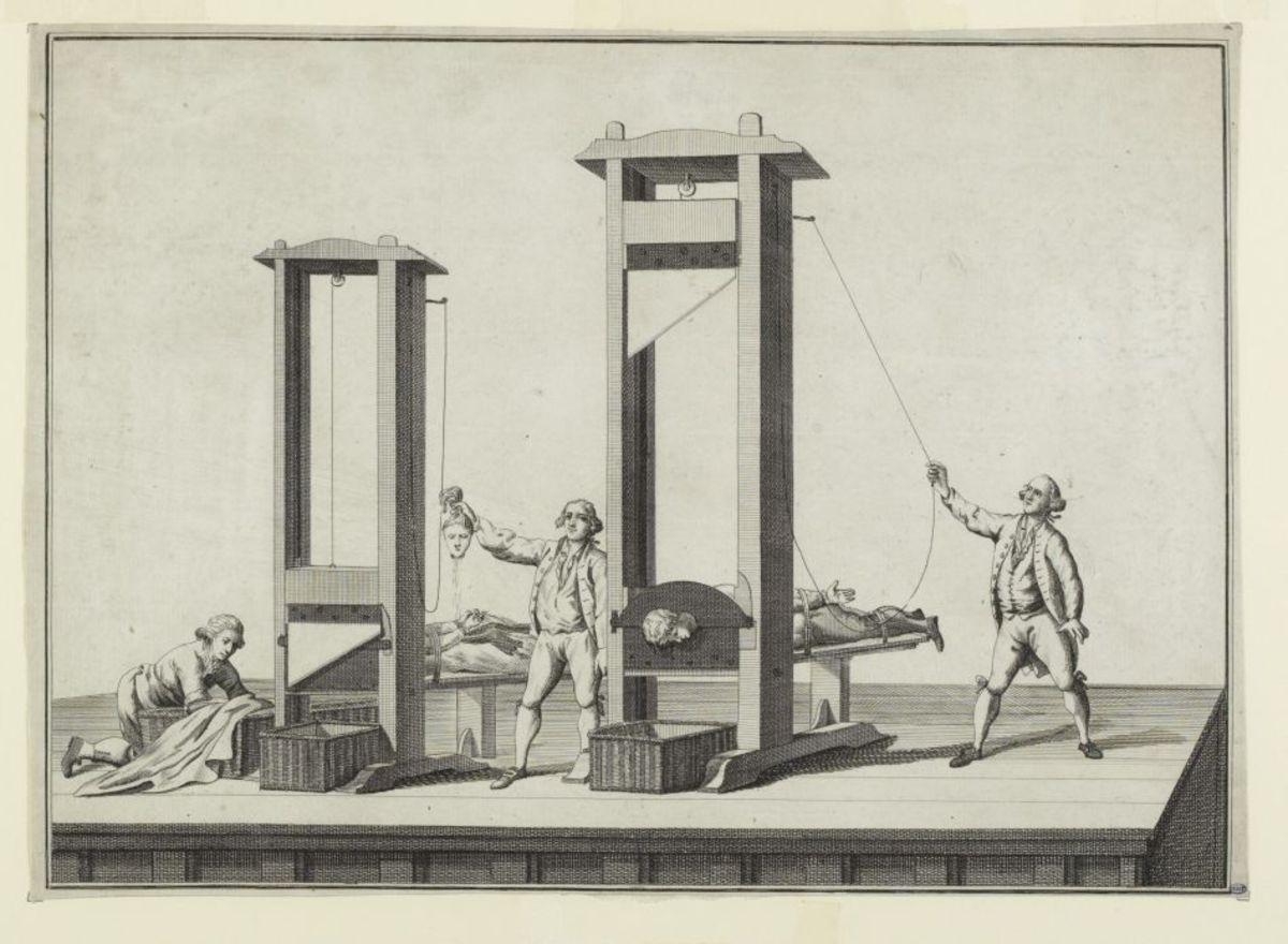 Double guillotine, reproduction fidèle de la guillotine de Paris Estampe