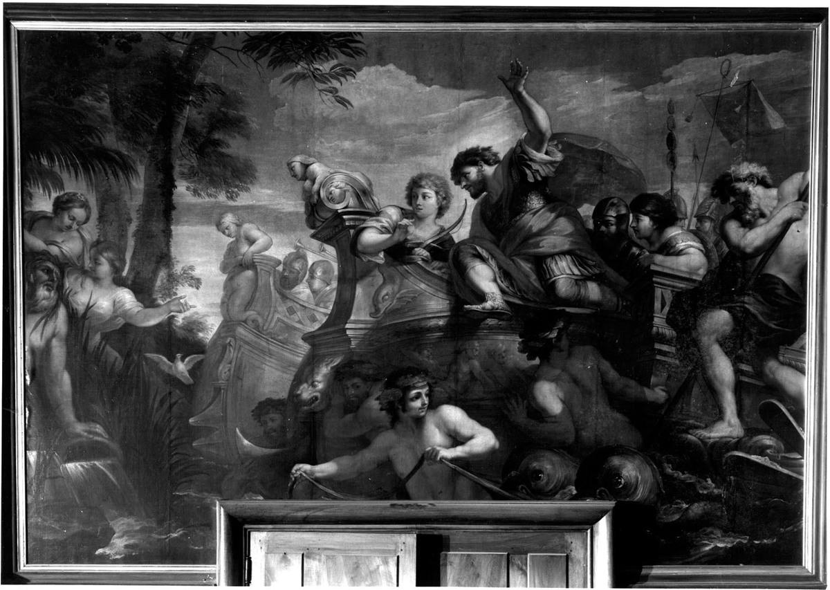 Arrivée d'Enée aux bouches du Tibre. Peinture