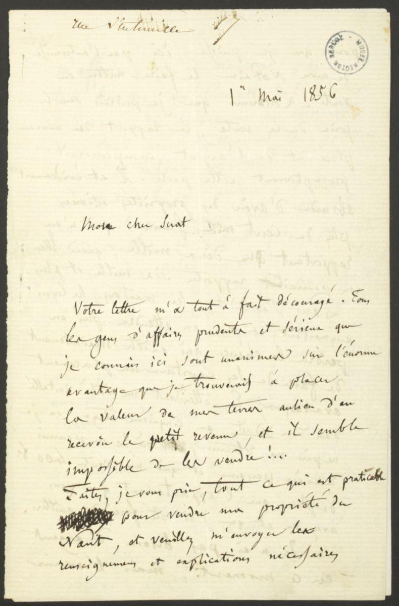 Lettre d'Hector Berlioz à Marc Suat Manuscrit 1856