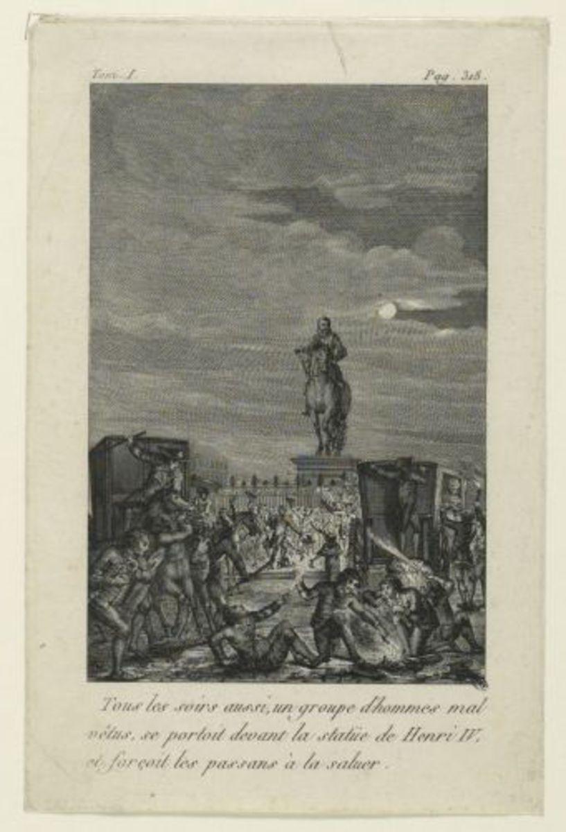 Tous les soirs aussi, un groupe d'hommes mal vêtus se portoit devant la statue de Henri IV et forçoit les passants à la saluer Estampe