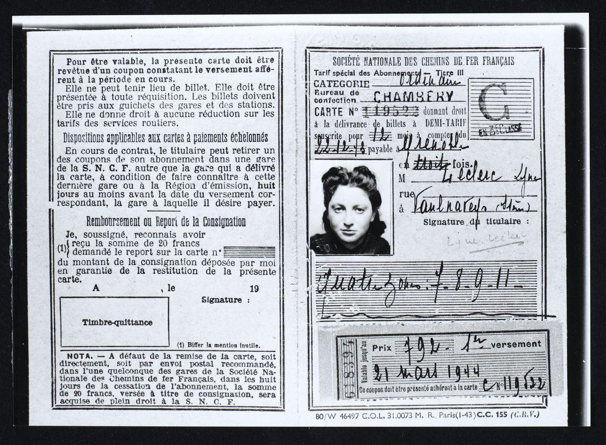 Fausse pièce d'identité de Liliane Klein-Lieber, Grenoble, 1943 Photographie 1943