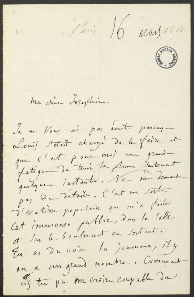 Lettre d'Hector Berlioz à Joséphine Suat Manuscrit 1866