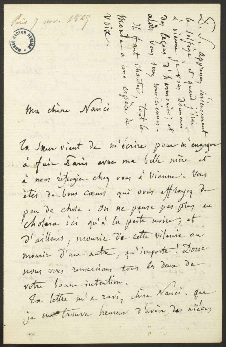 Lettre d'Hector Berlioz à Nancy Suat Manuscrit 1865