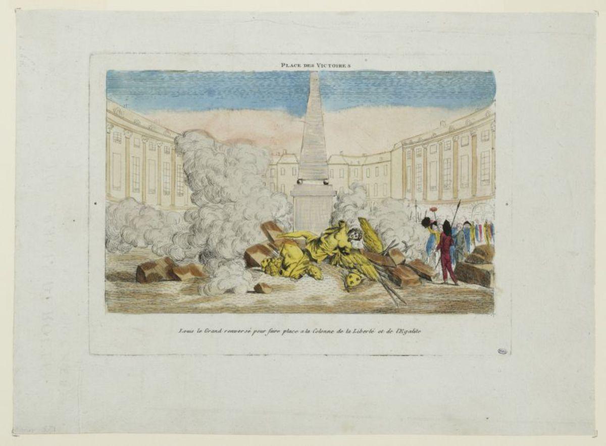 Place des Victoires. Louis le Grand renversé pour faire place à la Colonne de la Liberté et de l'Egalité Estampe