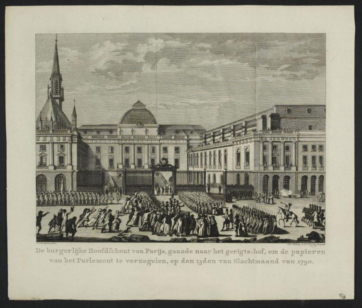 De burgerlijke hoofdfchout van Parijs, gaande naar het gerigts-hof, om de papieren van het Parlement te verzegelen, op den 13den van slachtmaand van 1790 Estampe