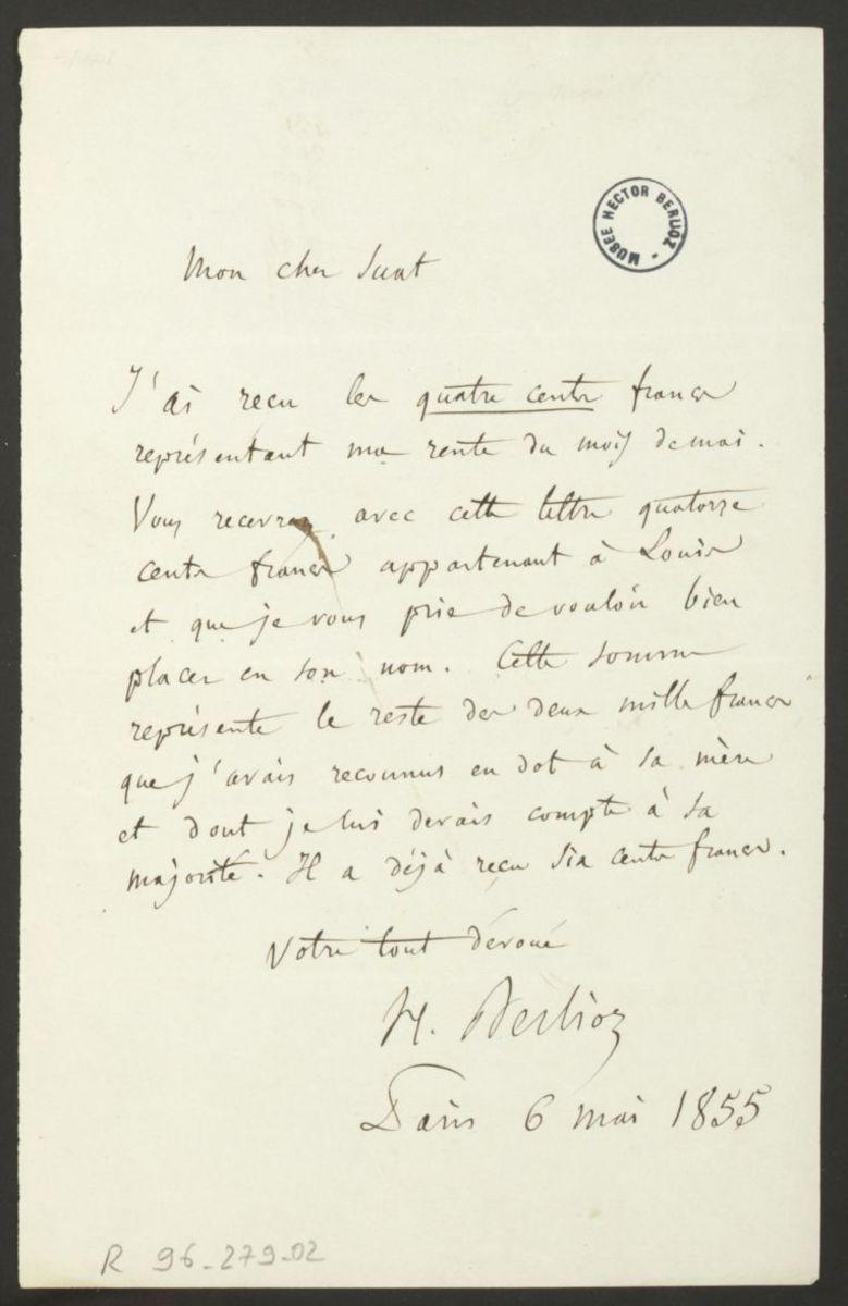Additif à la lettre pour Adèle, à l'attention de Marc Suat Manuscrit 1855