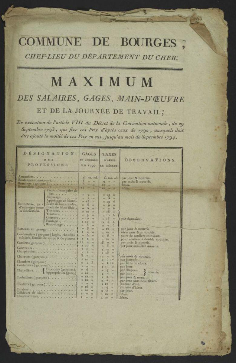 Maximum des salaires, gages, main d'oeuvres et de la journée de travail en exécution de l'article VIII du Décret de la Convention Nationale du 29 septembre 1794 Estampe