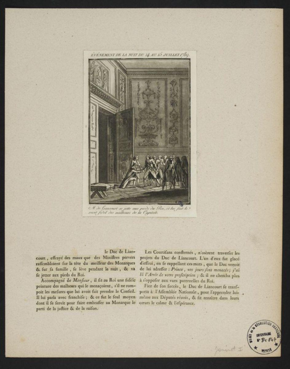 Evénement de la nuit du 14 au 15 juillet 1789 Estampe