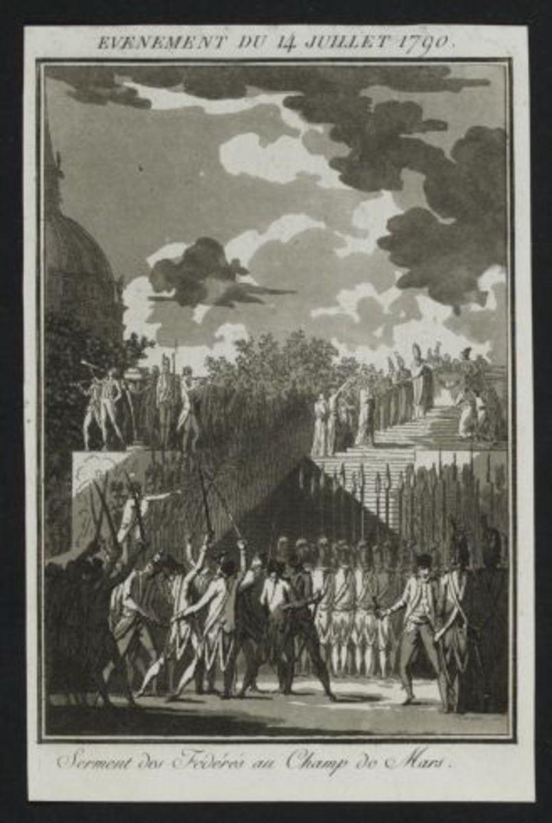 Evénement du 14 juillet 1790. Serment des Fédérés au Champ de Mars. Estampe