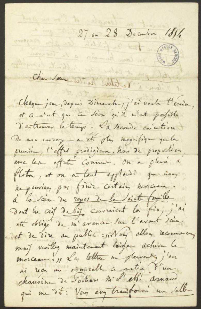 Lettre d'Hector Berlioz à Adèle Suat Berlioz Manuscrit 1854