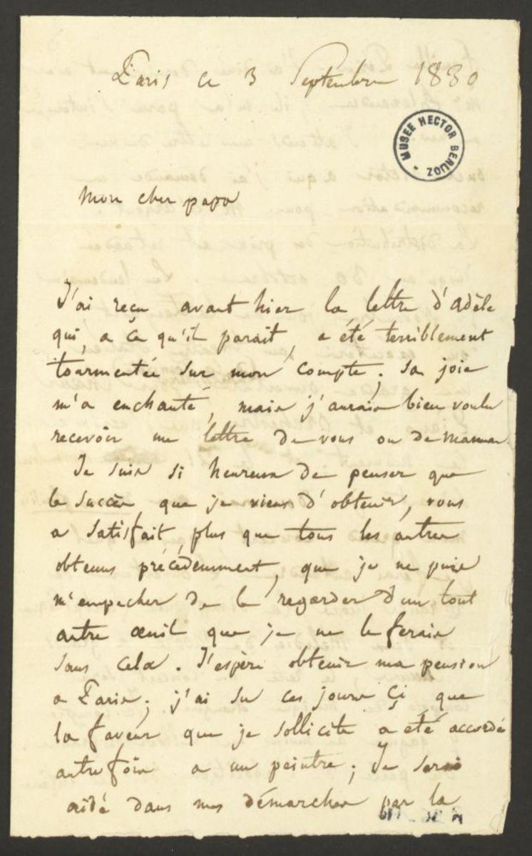 Lettre d'Hector Berlioz à Dr. Louis-Joseph Berlioz Manuscrit 1830