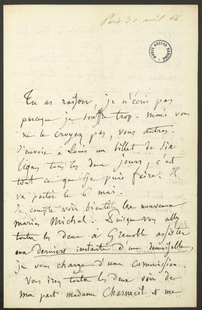 Lettre d'Hector Berlioz à Nancy Suat Manuscrit 1866