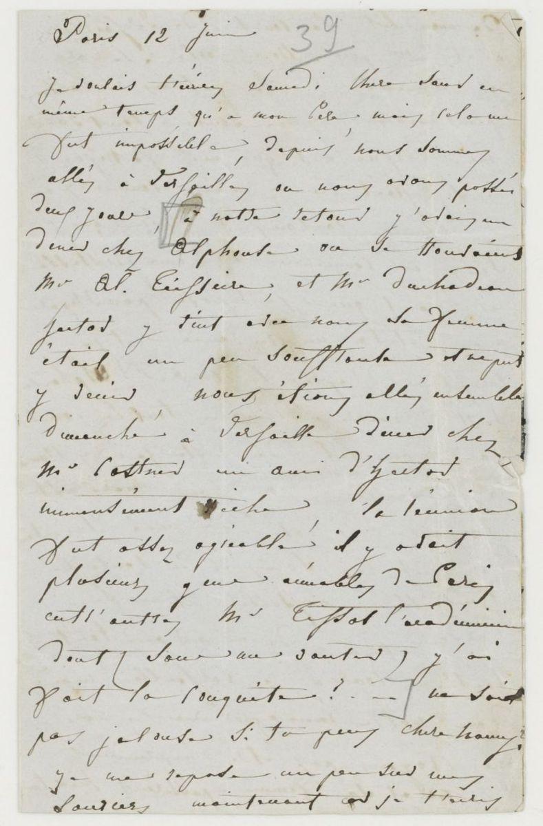 Lettre d'Adèle Suat Berlioz à Nanci Pal Berlioz Manuscrit 1839