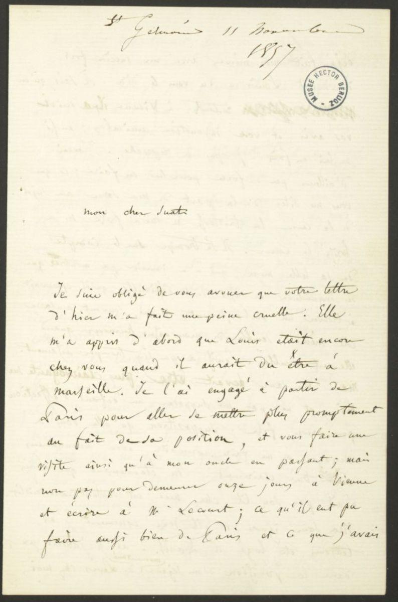 Lettre d'Hector Berlioz à Marc Suat Manuscrit 1857