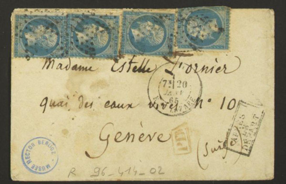 Enveloppe d'une lettre d'Hector Berlioz adressée à Estelle Fornier Manuscrit 1865