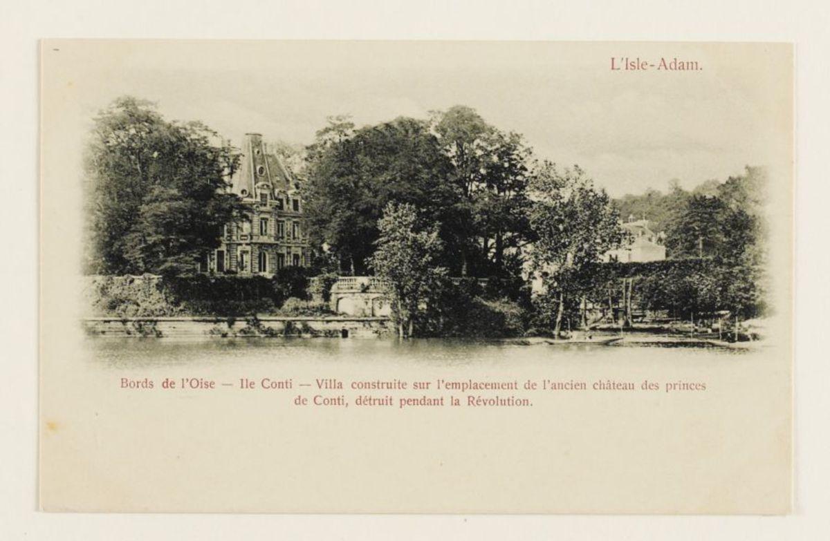 Bords de l'Oise - Ile Conti - Villa construite sur l'emplacement de l'ancien château des princes de Conti, détruit pendant la Révolution Carte postale