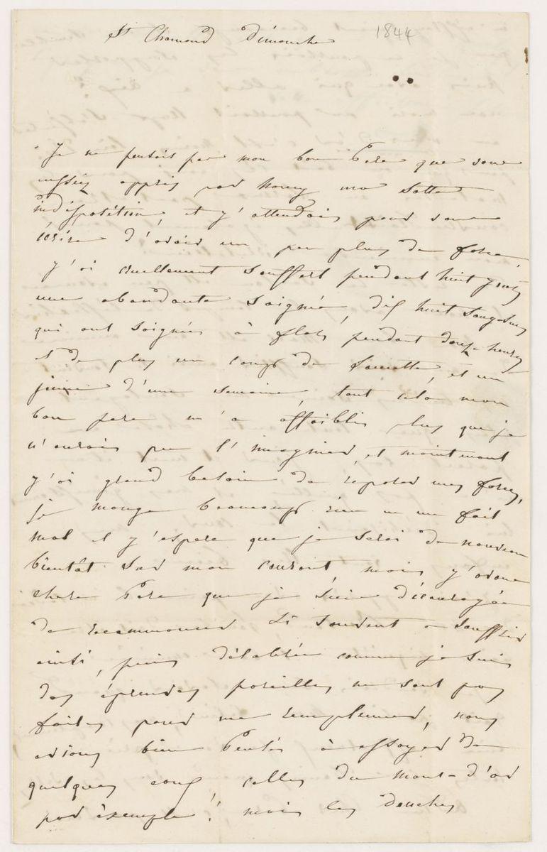 Lettre d'Adèle Suat Berlioz à Louis-Joseph Berlioz Manuscrit 1844