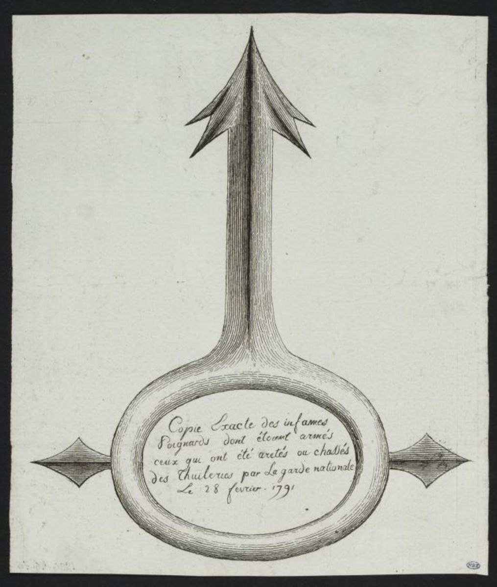 Copie exacte des infames poignards dont étaient armés ceux qui ont été arretés au chassés des Tuileries par la garde nationale le 28 fevrier 1791 Estampe