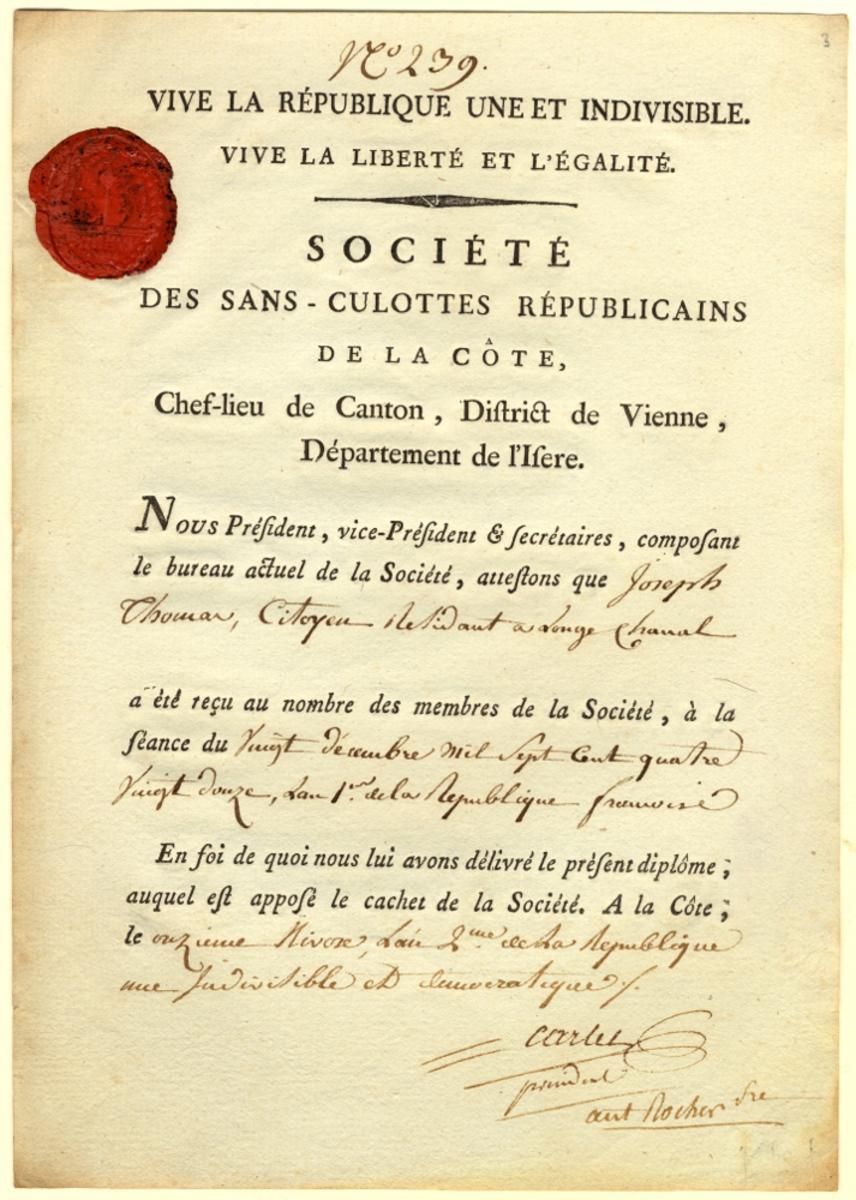 Diplôme de la Société des sans-culottes républicains de la Côte [Saint-André]  Onzième nivôse, l'an 2eme de la République