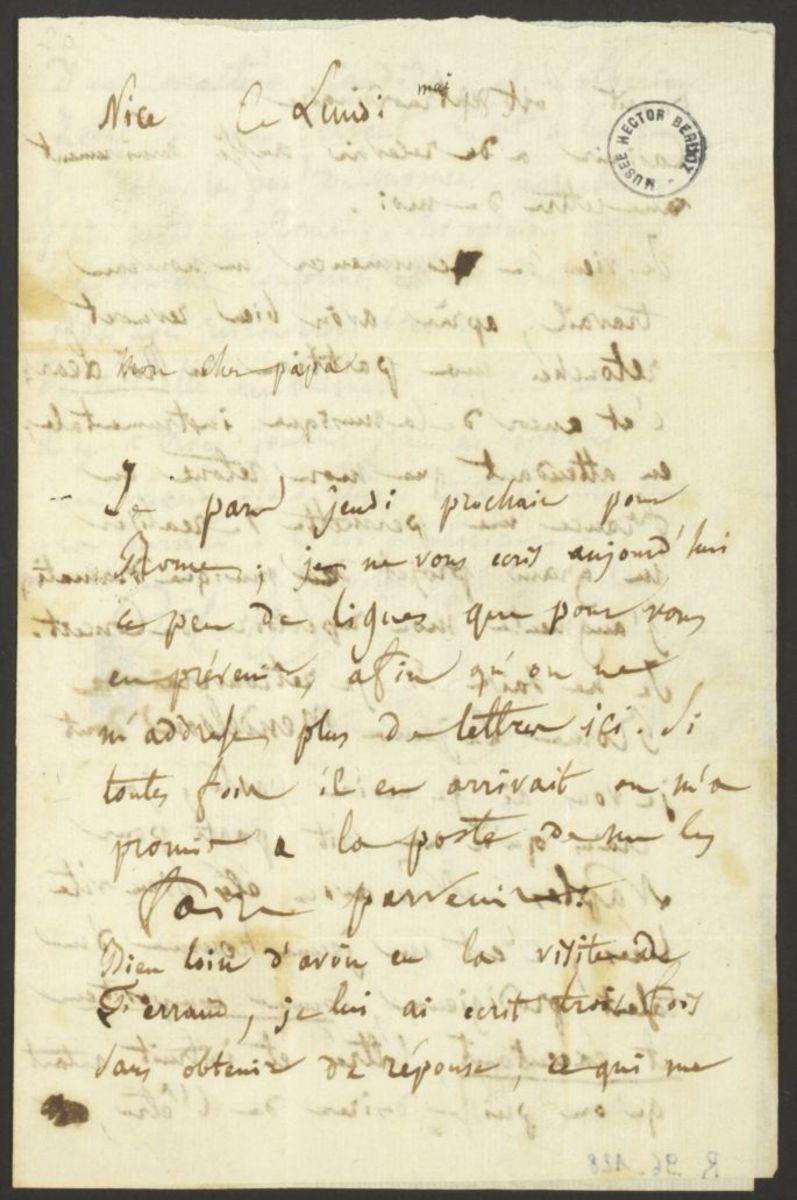 Lettre d'Hector Berlioz à Dr. Louis-Joseph Berlioz Manuscrit 1831