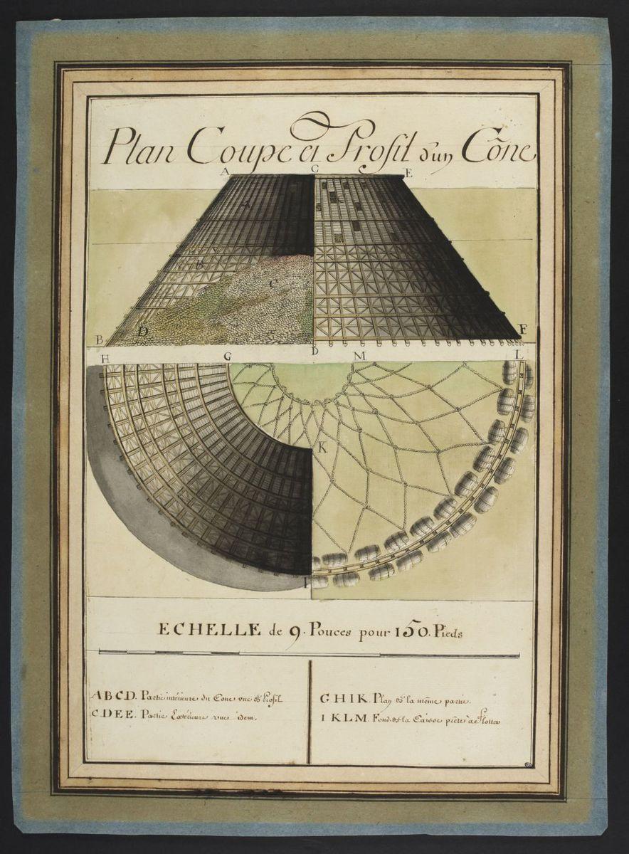 Plan, coupe et profil d'un cône de Cherbourg Dessin