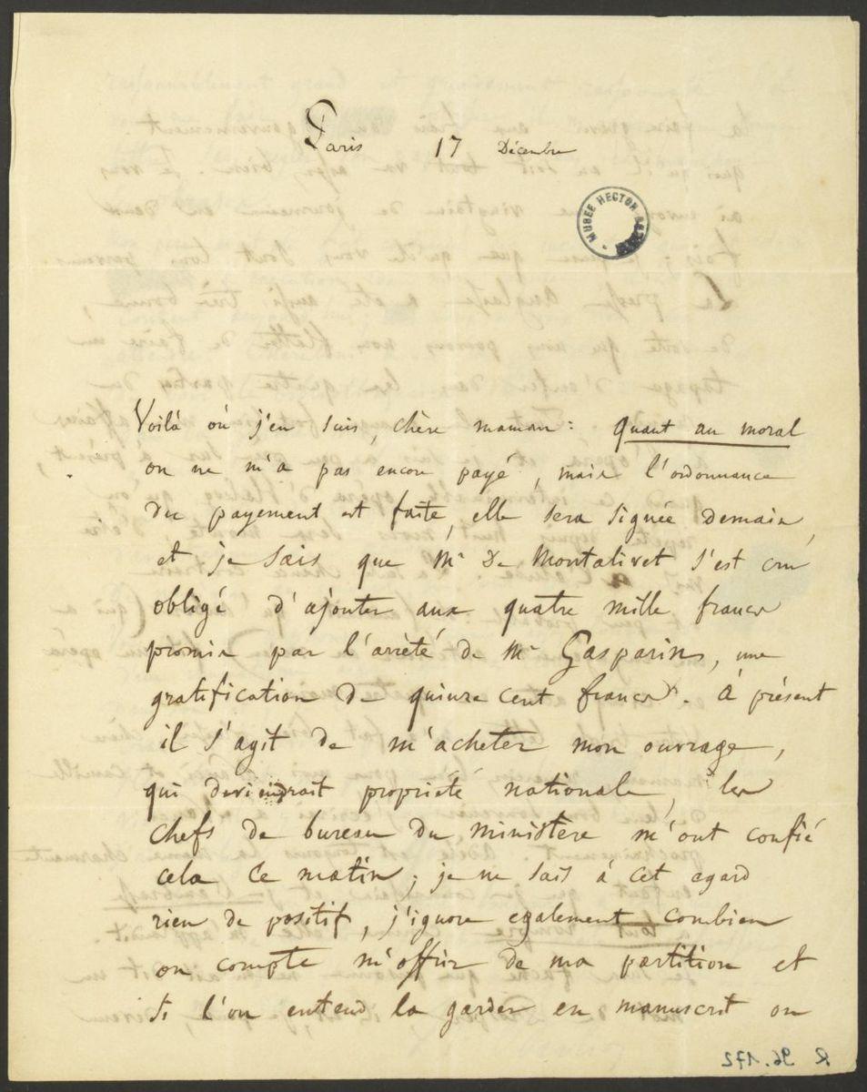 Lettre d'Hector Berlioz à Josephine Berlioz Marmion Manuscrit 1837