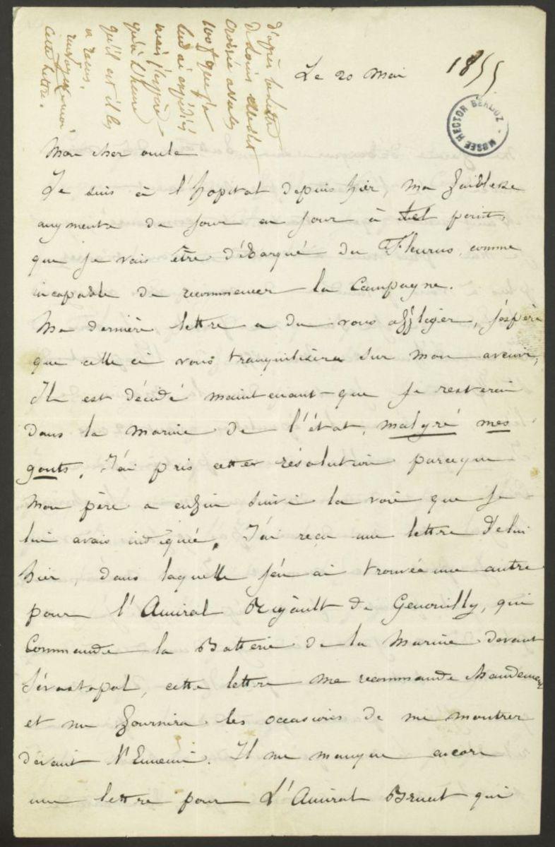 Lettre de Louis Berlioz à Marc Suat, avec un additif de Suat à l'attention d'Hector BerliozLettre de Marc Suat à Hector Berlioz Manuscrit 1855
