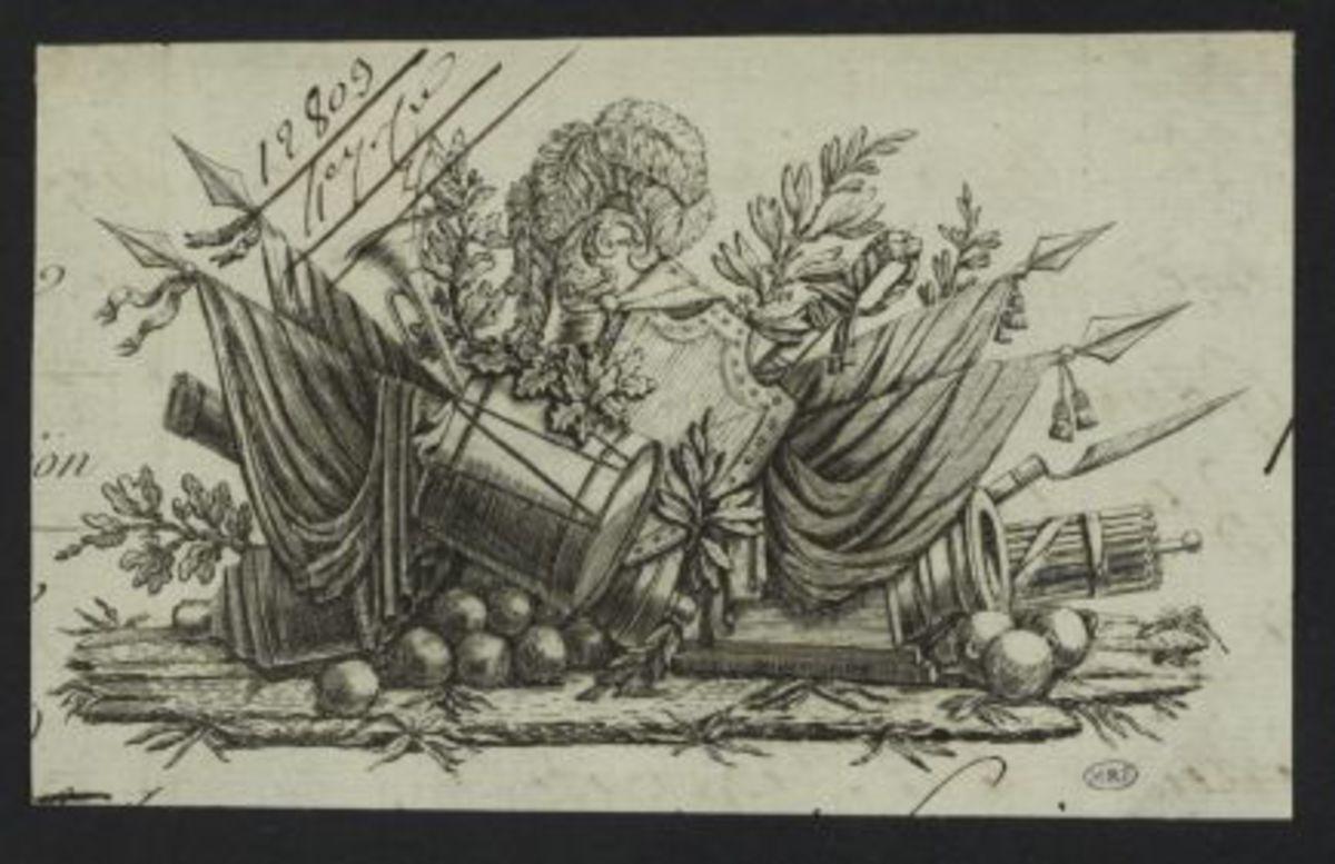 Vignette représentant un ensemble d'attributs militaires installé sur une terrasse Estampe