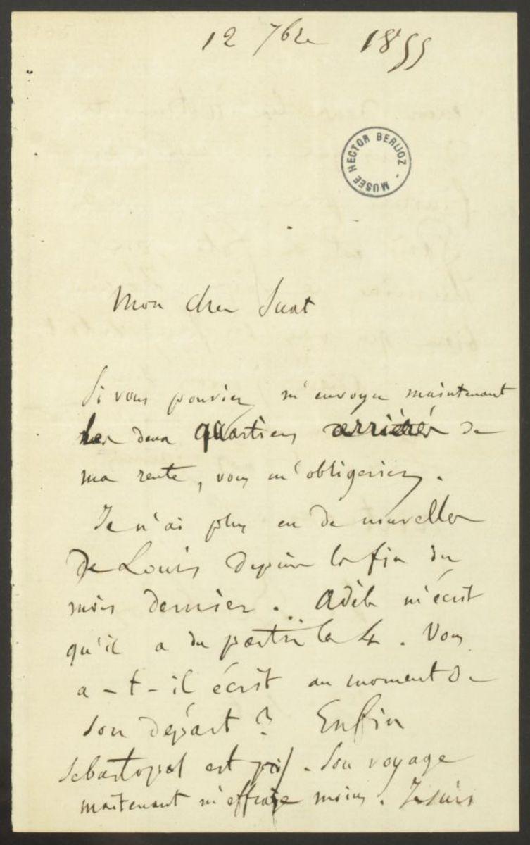 Lettre d'Hector Berlioz à Marc Suat Manuscrit 1855